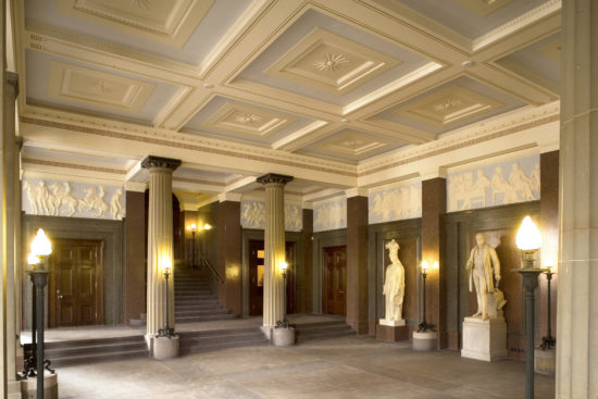 Completed historical redecoration works to the North Entrance Hall