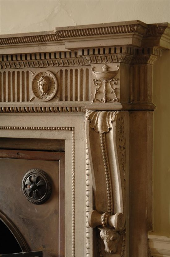 The restored fireplace in the Saloon