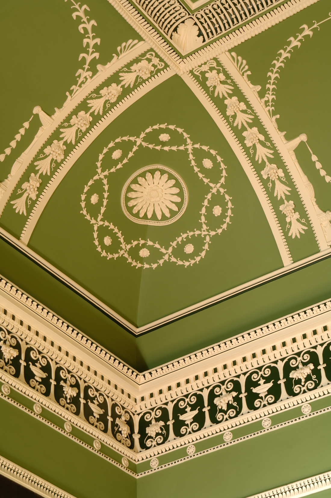 A detail of the restored ceiling