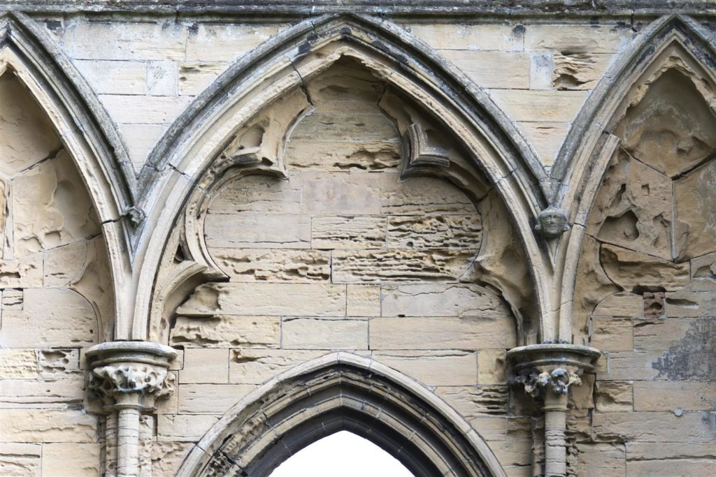 The stonework has deteriorated at Newstead Abbey
