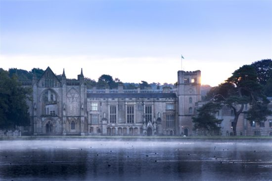 The exterior of Newstead Abbey on a misty morning