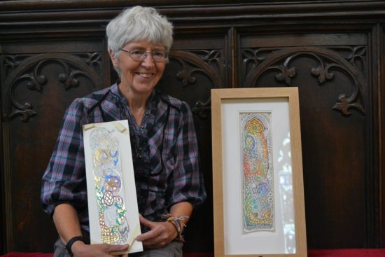 Artist in residence, Juduth Hurst with her two pieces created at Hexham Abbey