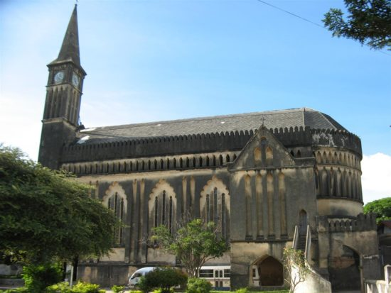The deteriorating condition of the cathedral before the start of the project, pictured in 2013 with plastic sheeting on the roof providing temporary protection