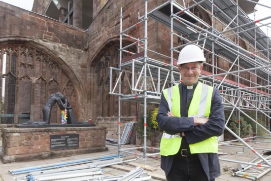 The Very Reverend John Witcombe on site during the restoration