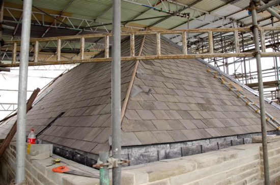 The roof was repaired following the failure of the fourteenth century timbers