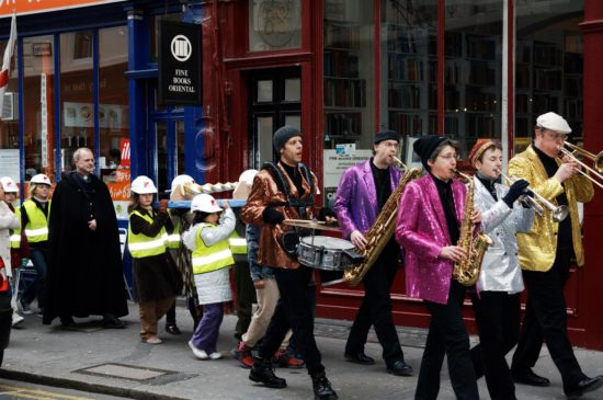 The children marched through Bloomsbury led by a band