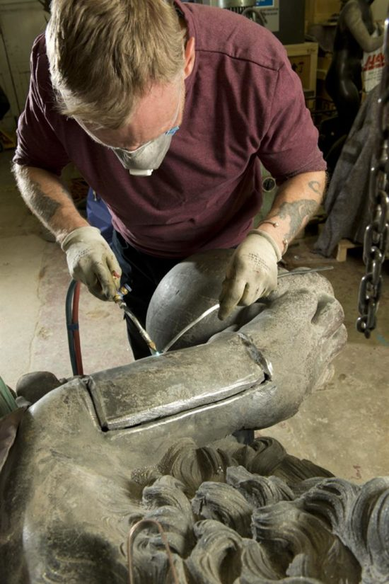 The armature within the lions was securely rebuilt adn the lead work was conserved