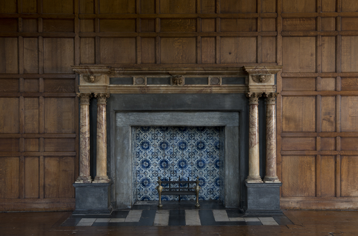 One of the many majestic fireplaces in the house