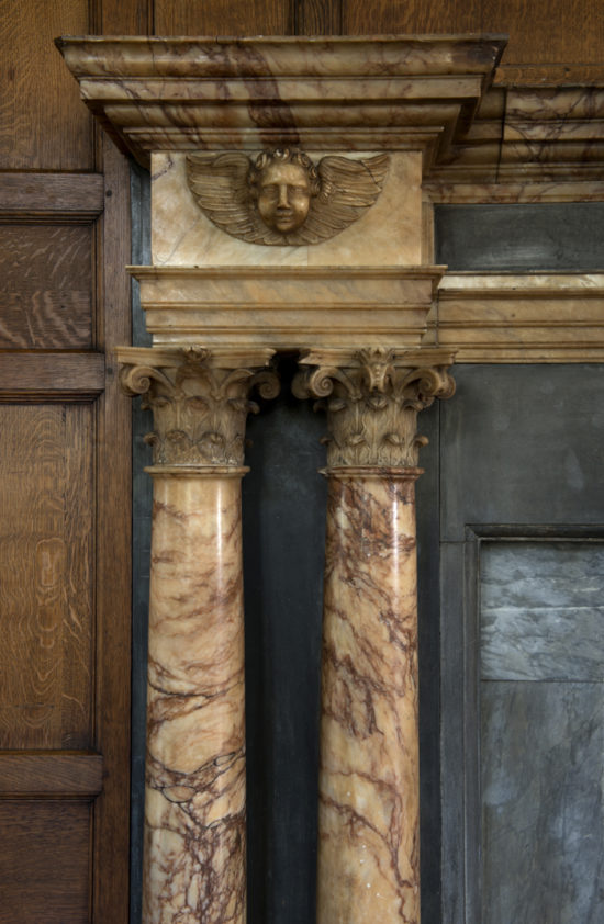 A detail of the chimney piece in the Long Gallery