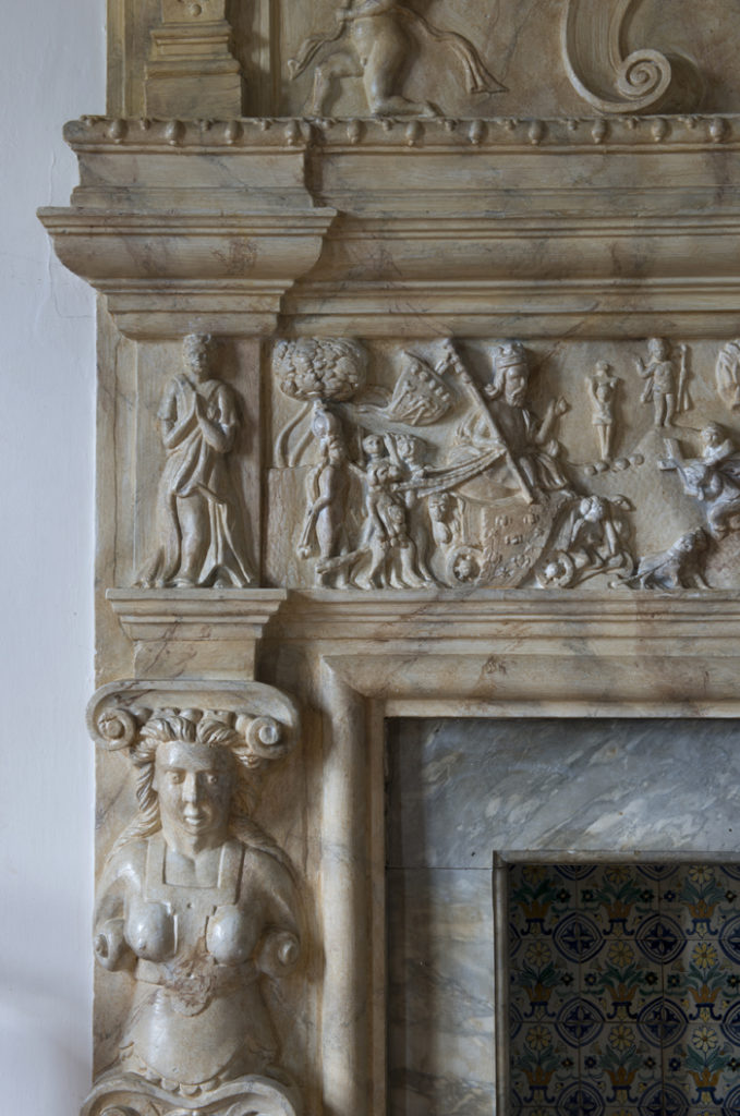 A detail of the fireplace in the White Drawing Room