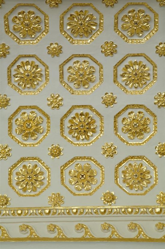 The ceiling was gilded with 30,000 leaves of 23.5 carat gold