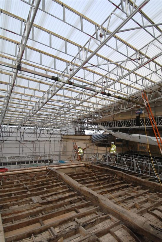 The State Library roof structure after the defective flat roof had been removed