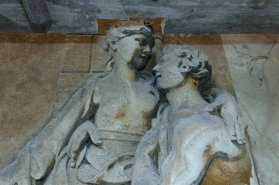 A relief capturing a tender embrace