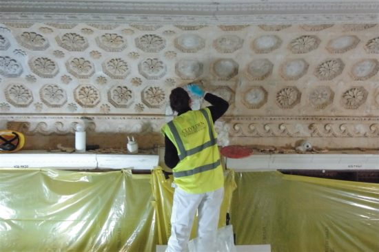 Failing plasterwork was replaced