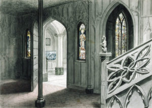 John Carter watercolour of hall at Strawberry Hill