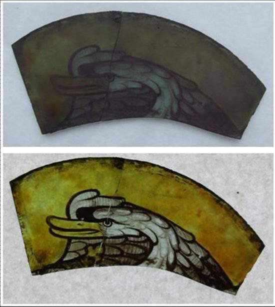 A example of a piece of glass before and after cleaning