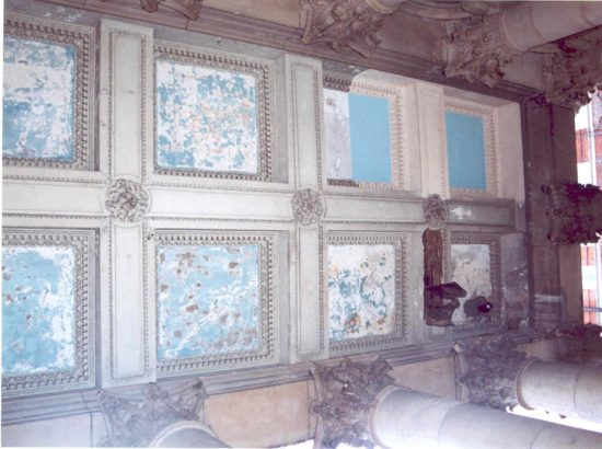 The ceiling of the front portico prior to restoration