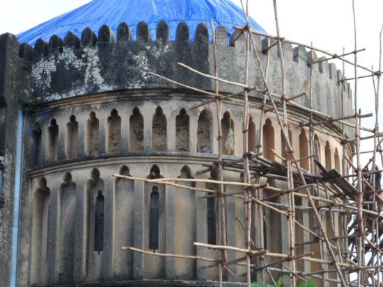 Before restoration: architecturally, the design combines influences from Zanzibar and the Middle East with Victorian Gothic and Arts & Crafts motifs