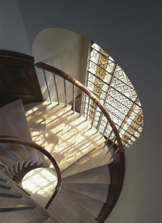 The newly built staircase leading up to the north gallery
