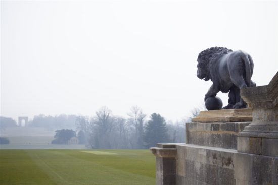 Looking towards The Corinthian Arch, the lions complete the restored Stowe Front