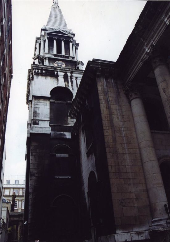 The tower and southeast portico before restoration begun