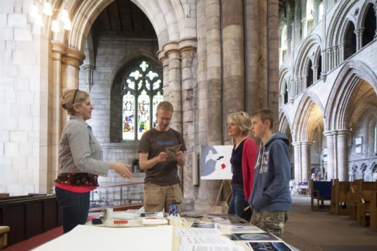 Hexham Abbey's artist in residence, Helen Schell talks to participants