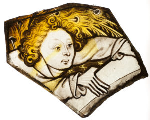 An angel. One piece of Coventry's medieval stained glass