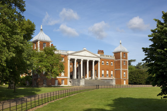 "The east front with the ""transparent"" portico at Osterley, Middlesex. The house, originally Elizabethan, was remodelled in 1760 - 80 by Robert Adam."
