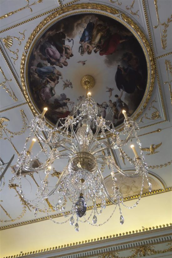 The Dance of the Hours secured in place with the replica chandelier hanging from its centre