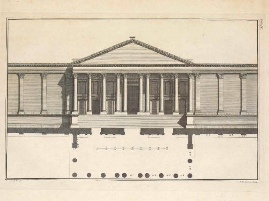 Borra's original 1753 elevation of the Great Temple from The Ruins.