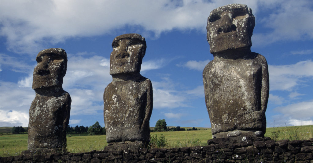 Three moai statues on Easter Island