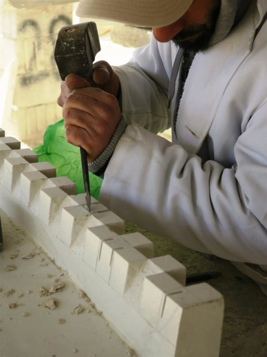 Carving a billet moulding for zafraka lintel