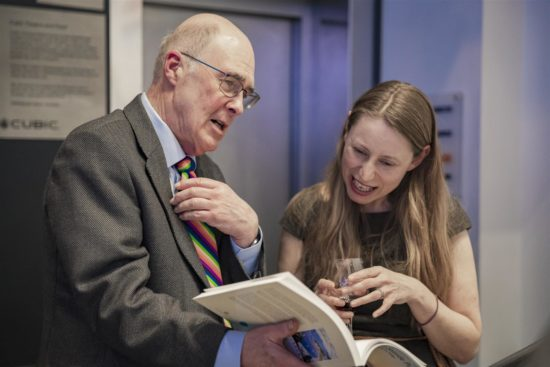 Guests enjoy Allan Brodie's book, 'The Seafront'