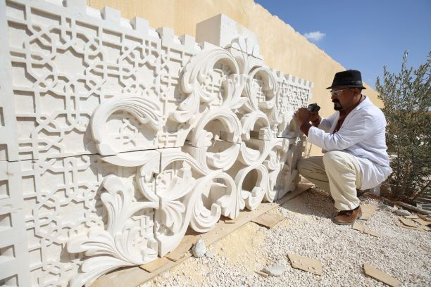 Stone carving in Mafraq, Jordan