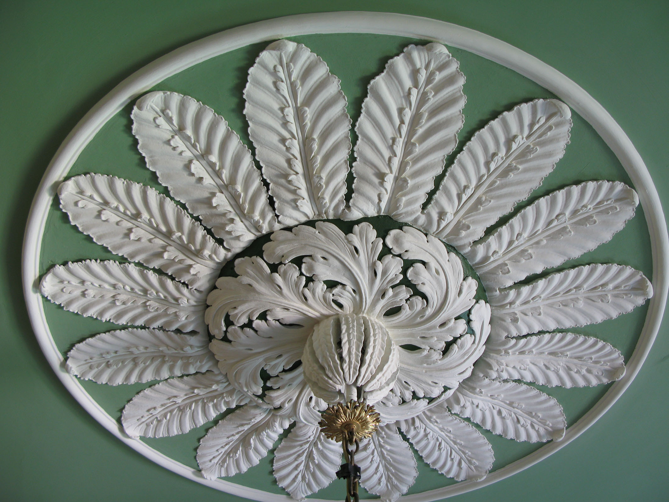 A detail of the restored ceiling in the Stair Hall