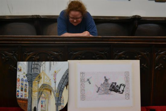 Artist in residence at Auckland Castle, Jen Westcott, with her two pieces of artwork