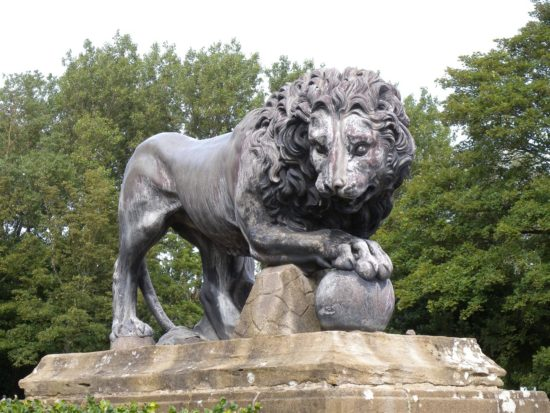 One of the lions in situ at Stanley Park in Blackpool