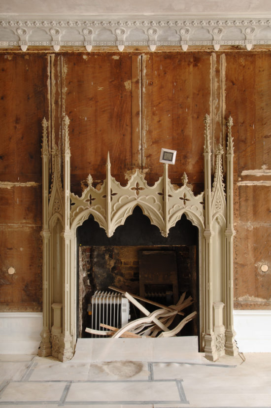During restoration fireplaces were stripped back and repaired