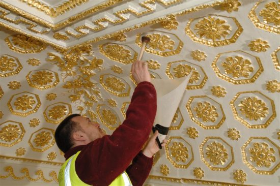 Gilding the ceiling was a time consuming process