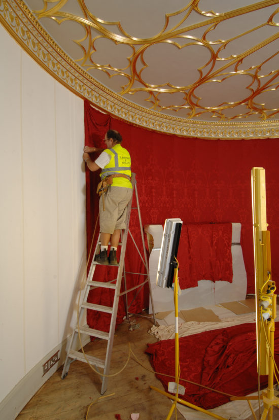 New damask was hung in The Round Drawing Room