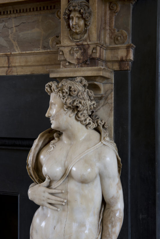 The chimneypiece is flanked by Vulcan and here, Venus