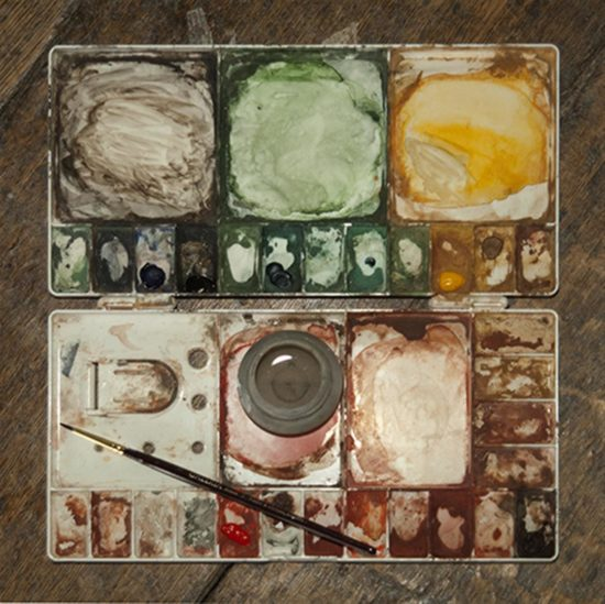 A paint palette used by one of the conservators