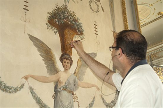 Valdre's work was carefully restored by hand