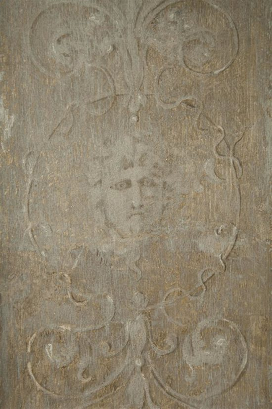 Contractors revealed an original decorative paint scheme of a flower motif and gilding on the shutters