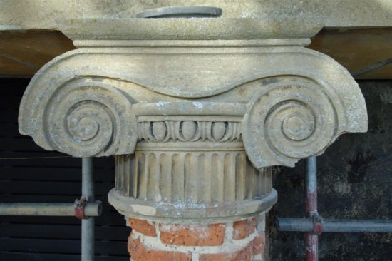 External columns were prepared for rendering with lime mortar
