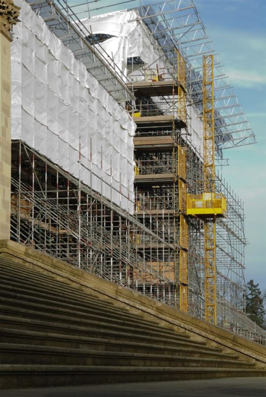 A complex system of scaffolding shoulds the Eastern Pavilion in anticipation of its restoration