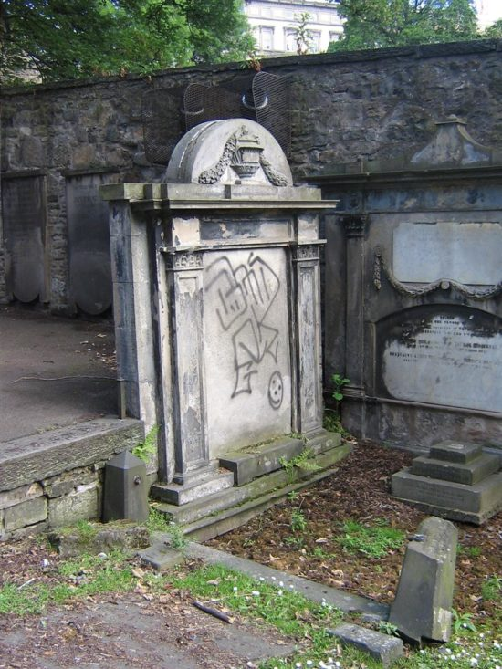 Graffiti was a problem in some of the graveyards