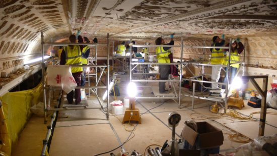 The paint was stripped from the ceiling and the extent of the repairs needed were revealed