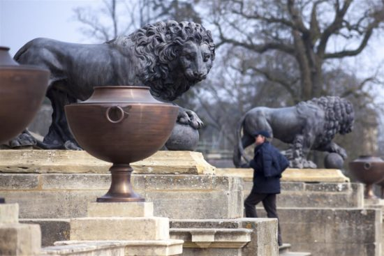 The conserved lions complete Stowe's South Front, flanked by 30 replica cooper urns