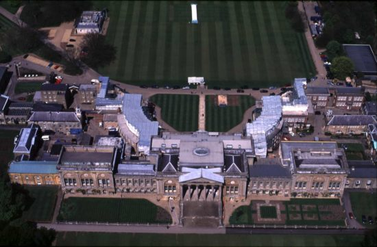 An aerial view of Stowe House during the restoration of the North Front